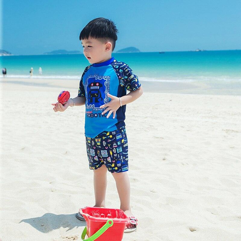 Hot Springs Sun-resistant BOY'S Baby Swimming Suit New Style Short Sleeve Boy Swimwear Split Type AussieBum Cute Children