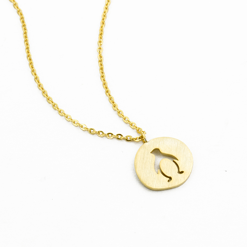 Stainless Steel Hollow little penguin Necklace For Women Gold And Silver Color engraved penguin Pendant Maxi Colar BFF in Chain Necklaces from Jewelry Accessories
