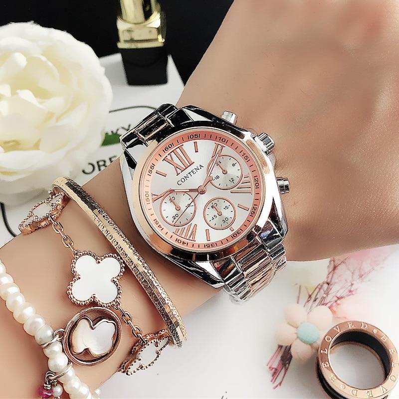 New Creative Watch Women Watches Luxury Rose Gold Quartz Ladies Watches Stainless Steel Bracelets Wristwatches Reloj Mujer