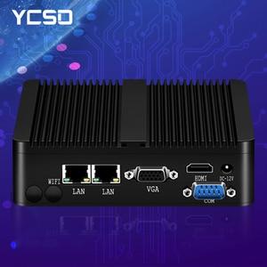 YCSD Fanless Mini Pc Intel Celeron j1900 Win Windows 10 7 Linux Thin Client Minipc Pfsense Micro 2Lan Port Tv Desktop Computers