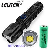 Potente linterna táctica de gran calidad con Zoom XHP90, linterna LED con Zoom