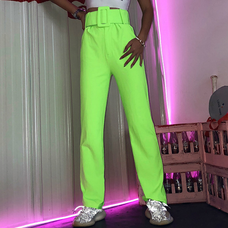 Zipper Fly 2019 Casual Flare   Pants   High Waist   Wide     Leg     Pants   Sexy Women Club Festival Party Trousers Sashes Neon Long   Pant   GV662