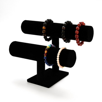 Mult-layer Black Portable Velvet Bracelet Bangle Necklace Display Stand Holder Headwear Watch Jewelry Organizer T-Bar Rack Hot