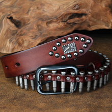 CETIRI Punk Bullet Rivet Belt Mens Top Grain Real Leather Belt Pin Buckle Belt For Jeans Female Personality Cool Gift