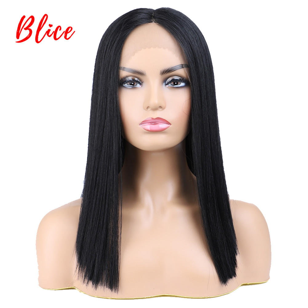 Blice Short Bob Lace Front Synthetic Hair Wigs Natural Black Yaki Straight Middle Part Wig for Women