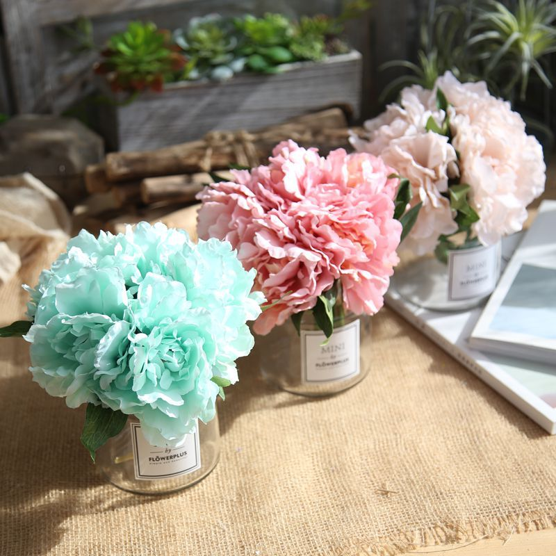 Manufacturers Peony Tiffany Blue Imitation Flowers Wholesale Foreign Trade Artificial Flower Wedding Bridal Bouquet Beam GF13823