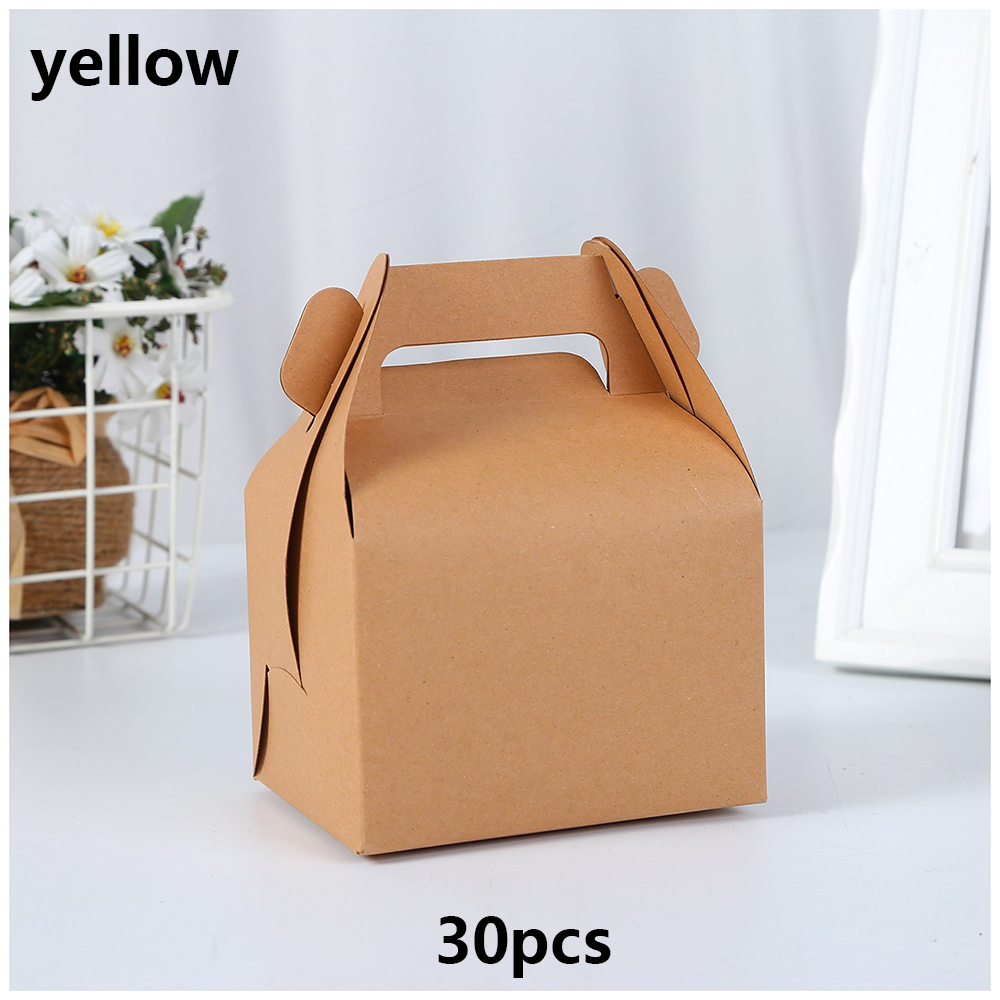 30pcs/Lot 3 Colors DIY Baking Cake Cookie Natural Brown And White Box Kraft Paper Packing Box Party Gift Boxes 10*10*14.5cm