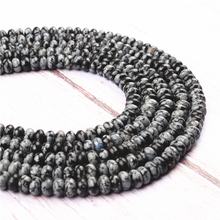 Black Snowfla Natural Agate Gem 4X6MM5X8MM Abacus Bead Spacer Bead Wheel Bead Accessory For Jewelry Making Diy Bracelet Necklace