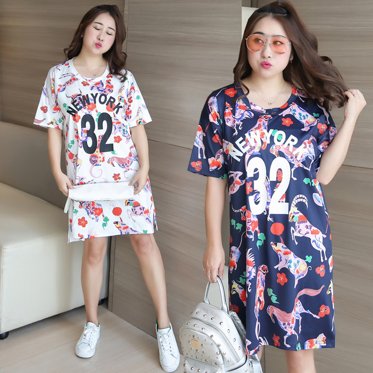 [LIMITED Time Feedback] Fat Mm Large Size Dress Mid-length Summer Wear New Style Printed Full Body Dress Wholesale 0755