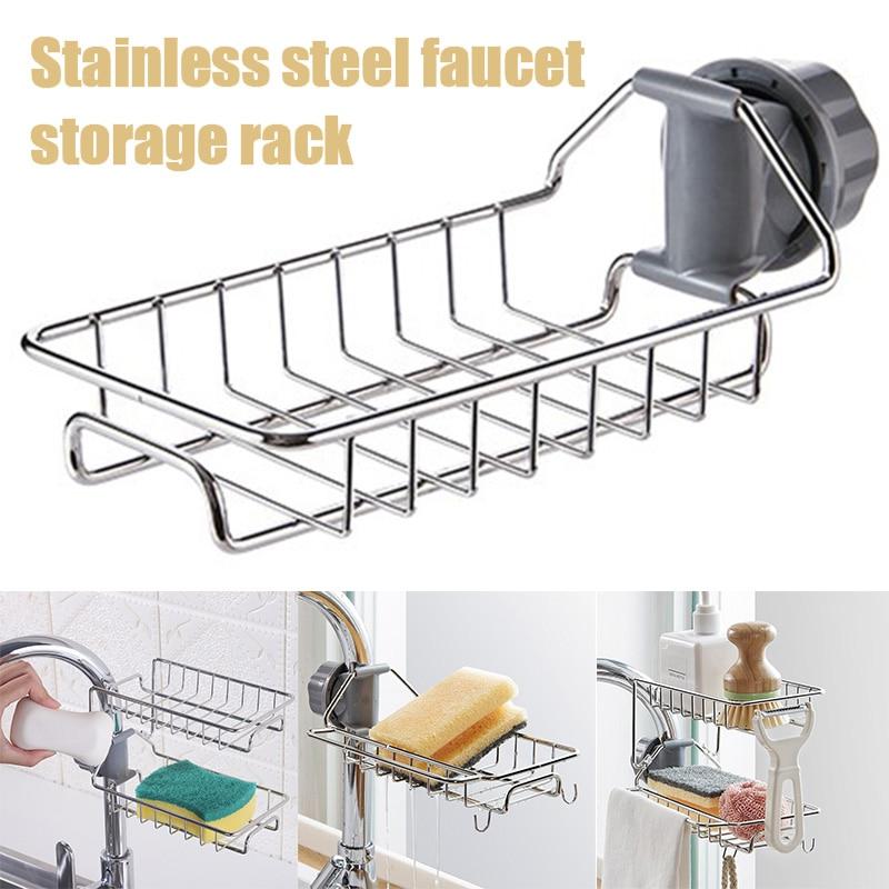 Kitchen Storage Rack Holder Sink Drainer Bathroom Shelf Soap Sponge Organizer Su