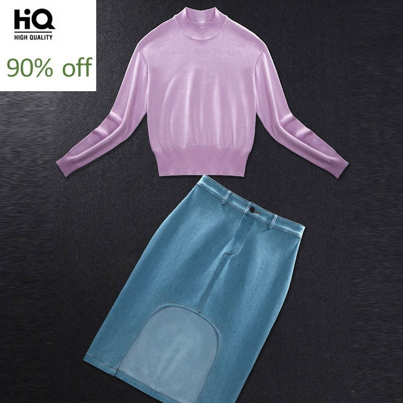 2020 Spring Womens Suits Star Style Pink Long-Sleeved Sweater Denim Skirt Suits Skirt Female Split Mini Jean Skirt Denim Sets