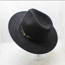 Winter Wide Brim Fedora Belt Men Women Vintage Jazz Hats Fashion Wool felt hat Unisex Felt Bowler Trilby