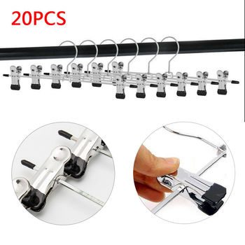 20pcs Clamp Hangers Metal Suspension for Garment Skirt Trousers Dress Rack Stainless Steel Clip Coat Hangers Rustproof Durable