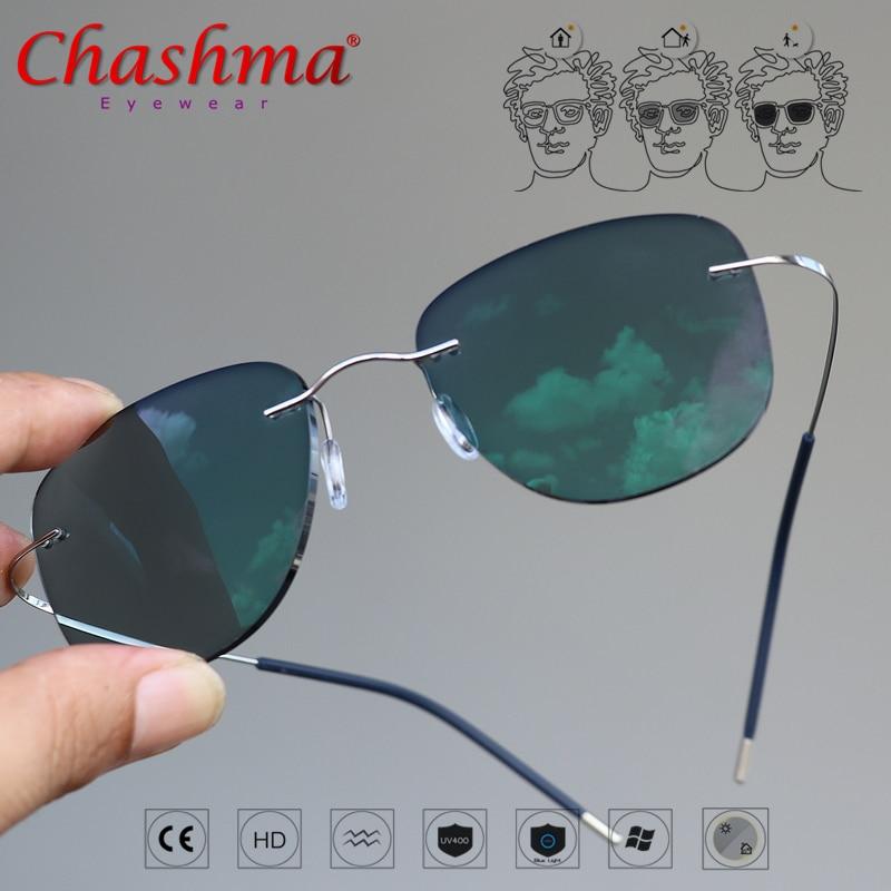 Титановые переходные авиационные фотохромные солнцезащитные очки для чтения очки без оправы мужские с диоптриями|Женские очки для чтения|   | АлиЭкспресс