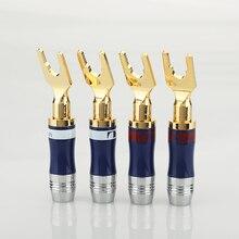 8 sztuk złota Plated miedzi Spade widelec wtyczki głośnik złącze śrubowe