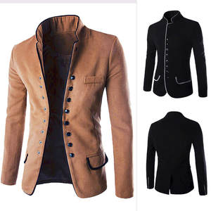Men's Sweaters Blouse Cardigan Button-Coat Long-Sleeve Male Man Winter Autumn New Stand-Up