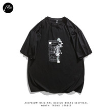 AIOPESON Original Design E-boy E-girl Emo T-shirt Men Card Printing Oversized T-shirt Summer 100% Cotton Streetwear Harajuku