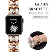 Correa para Apple Watch 5, 4, 40mm, 44mm, cadena de acero inoxidable con correa de cuero para iwatch Series 3, 2, 38mm, 42mm