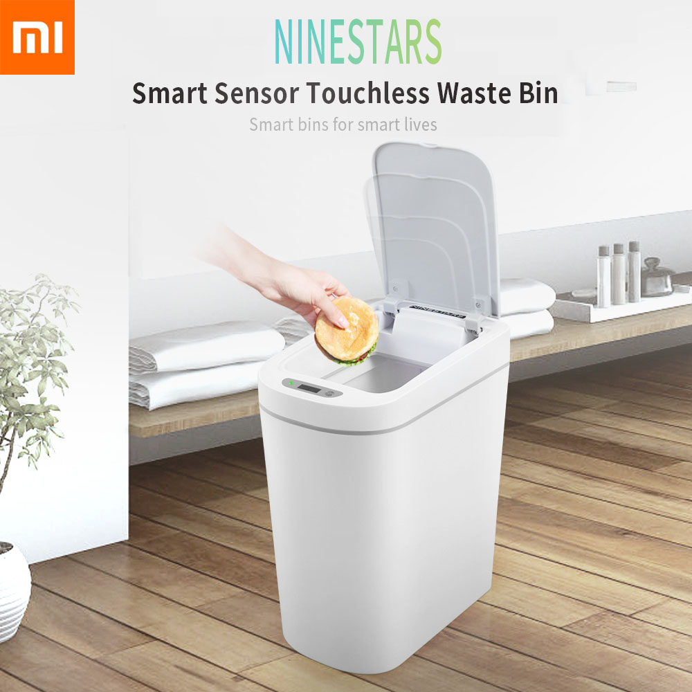 Original Xiaomi Mijia NINESTARS Smart Trash Can Motion Sensor Auto Sealing LED Induction Cover Trash 7L Home Ashcan Bins Fashion