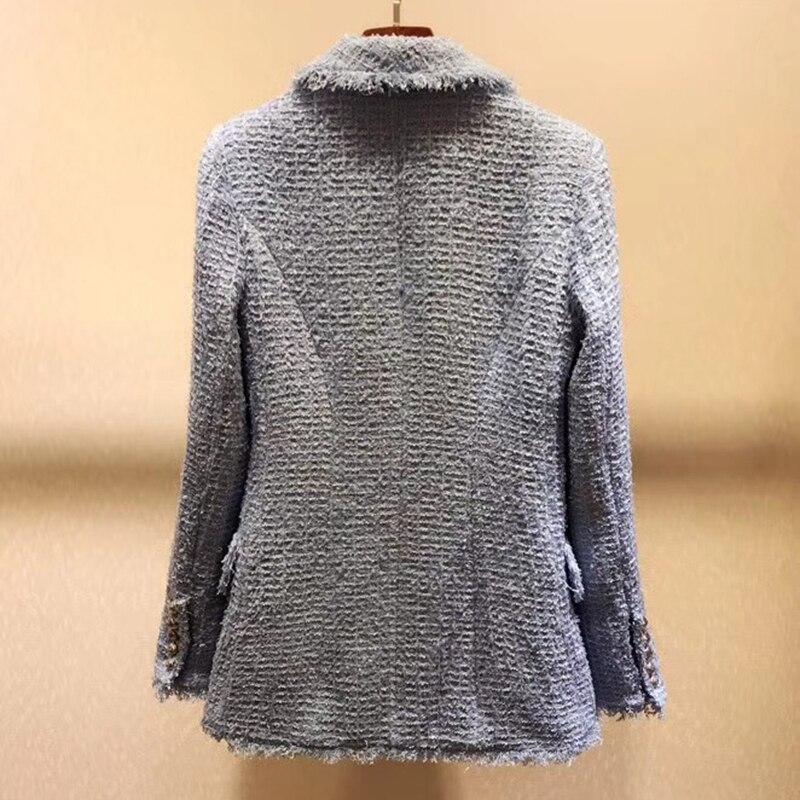 Женская куртка, модная твидовая куртка с v образным вырезом 2019, осенняя двубортная синяя куртка, элегантная - 3