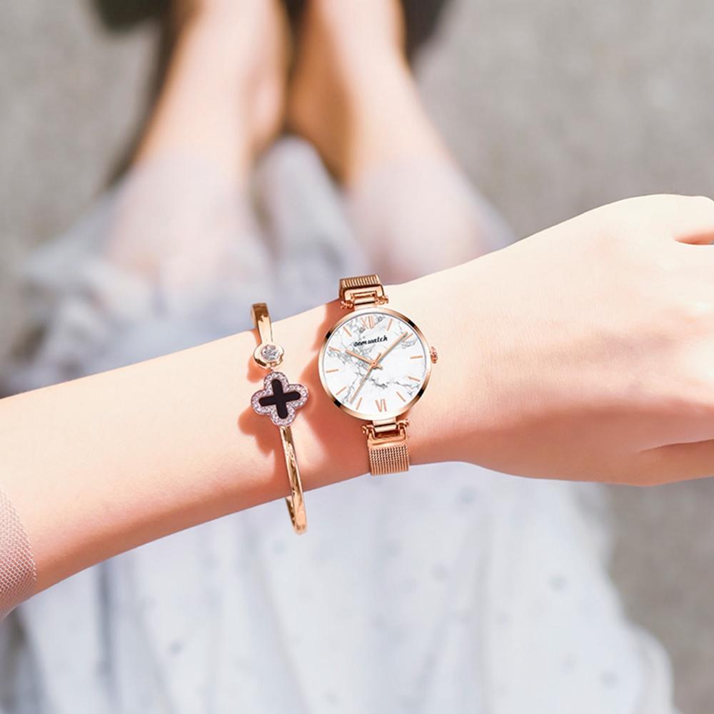 Dom Vrouwen Horloges Top Luxe Mode Vrouwelijke Quartz Horloge Dames Staal Waterdichte Klok Meisje Agaat Patroon Horloge - 3