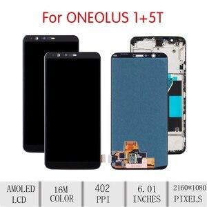 Image 2 - 100% oryginalny dla OnePlus 5T LCD montaż digitizera ekranu dotykowego dla Oneplus 5T wyświetlacz z ramką wymiana 1 + 5T ekran A5010
