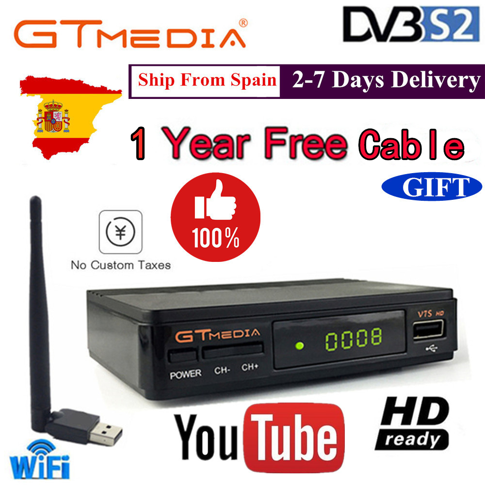 GTMedia FTA DVB-S2 Satellite TV Receiver V7S HD 1080P With  USB WIFI Support YouTube With 1 Year Europe Cables Free