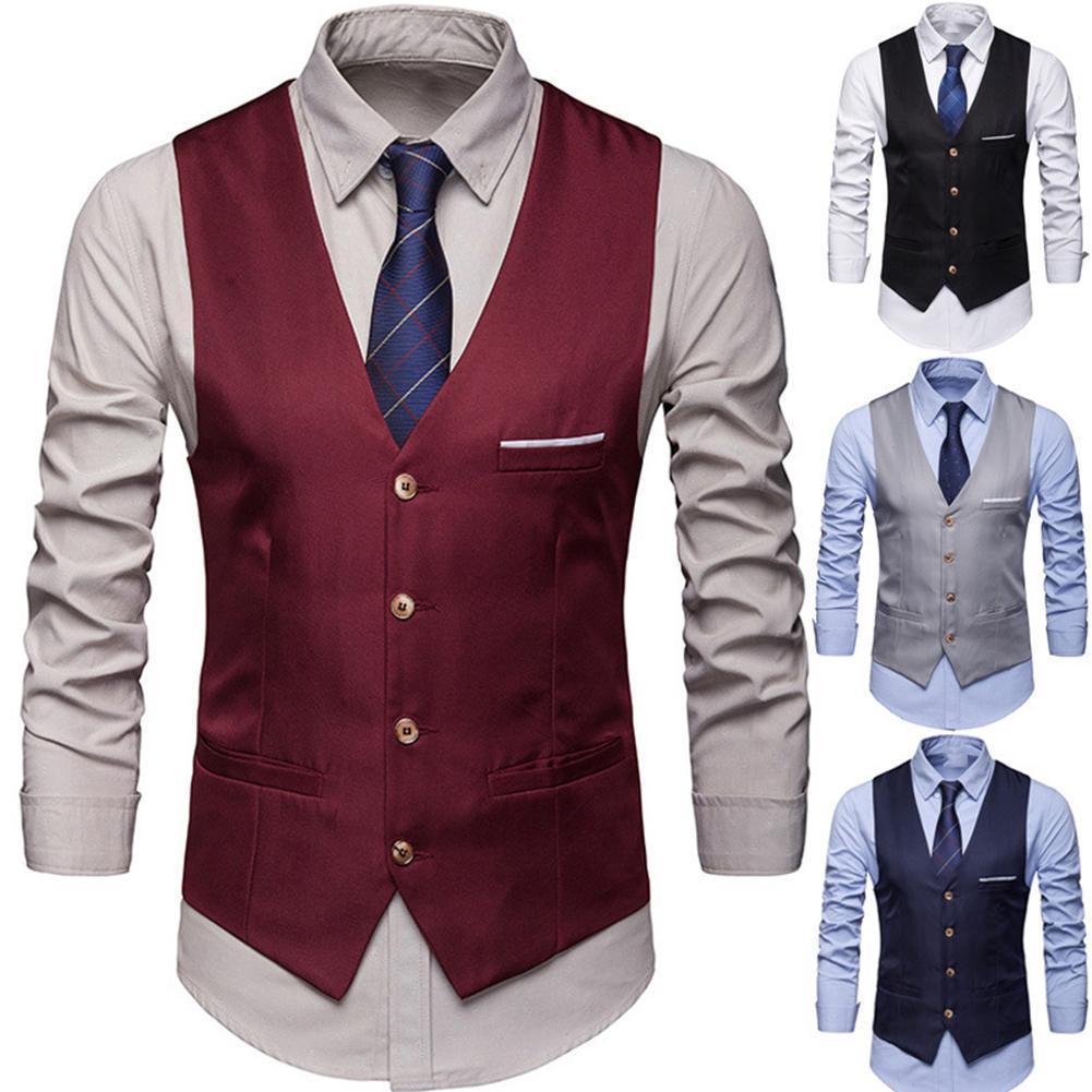 Plus Size Formal Men Solid Color Suit Vest Single Breasted Business Waistcoat