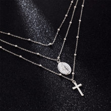 2020 Cross Jesus Long Chain Alloy 3 Layer Pendant Simple Necklaces Hip Hop Jewelery Christian Choker Necklace For Women Men Gift(China)