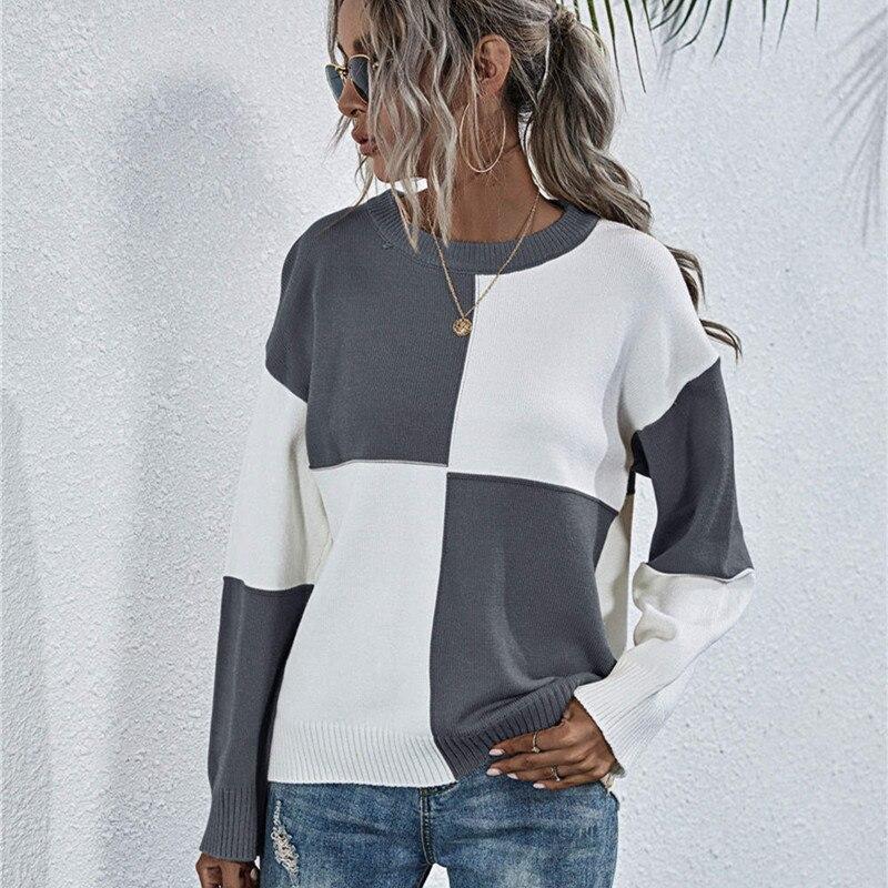 Купить свободный вязаный свитер для женщин джемперы с длинным рукавом