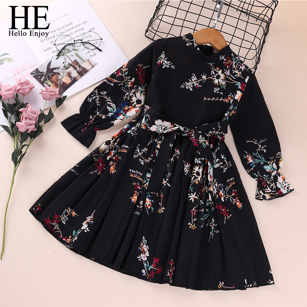 Girls Dresses Long-Sleeve Printed Elegant Autumn Evening Kids Casual Bow HE Hello-Enjoy