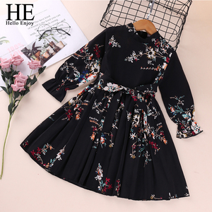 HE Hello Enjoy Girls Dresses Autumn Baby Girl Newborn Clothes Long Sleeve Printed Bow Elegant Evening Princess Dress Casual Kids