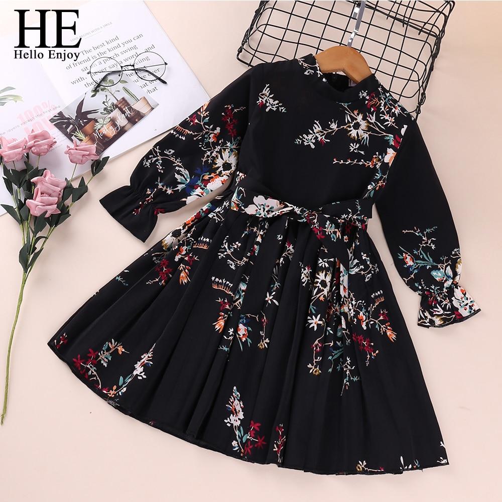 HE Hello Enjoy Girls Dresses Spring Baby Girl Newborn Clothes Long Sleeve Printed Bow Elegant Evening Princess Dress Casual Kids|Dresses|   - AliExpress