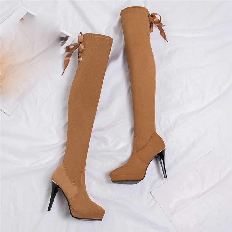 Hiver femmes bottes Stretch mince cuissardes bottes noires sur le genou bottes talons aiguilles chaussures femme Tube chaussons botas A40