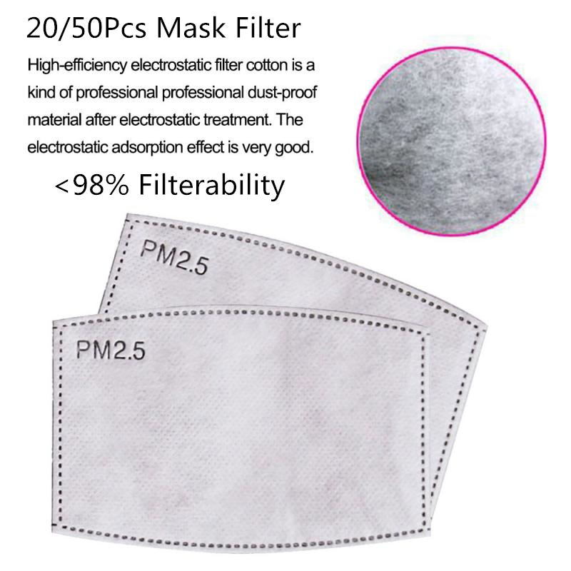 50pcs/Lot 5 Layers Face Masks Filters Paper  Ctivated Carbon Filter Insert Mask Filter Media Insert For Mouth Mask Dropshipping