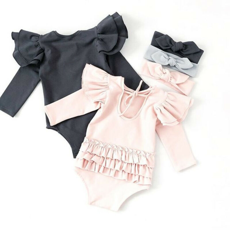 Newborn Baby Girl Clothes Long Sleeve Ruffle Romper Jumpsuit Overall Outfits Set