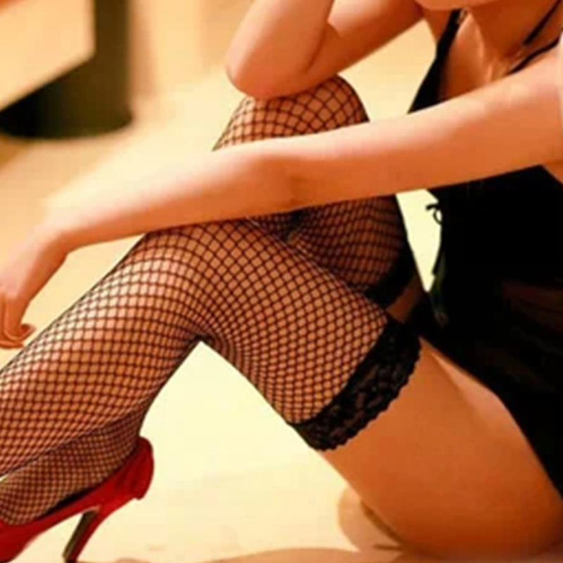 Sexy Women's Fishnet Hollow High Stockings Lace Top Silicon Strap Thigh Nightclub Medias De Mujer Stockings Female Erotic