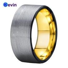 Обручальное кольцо для мужчин и женщин вольфрамовое черного