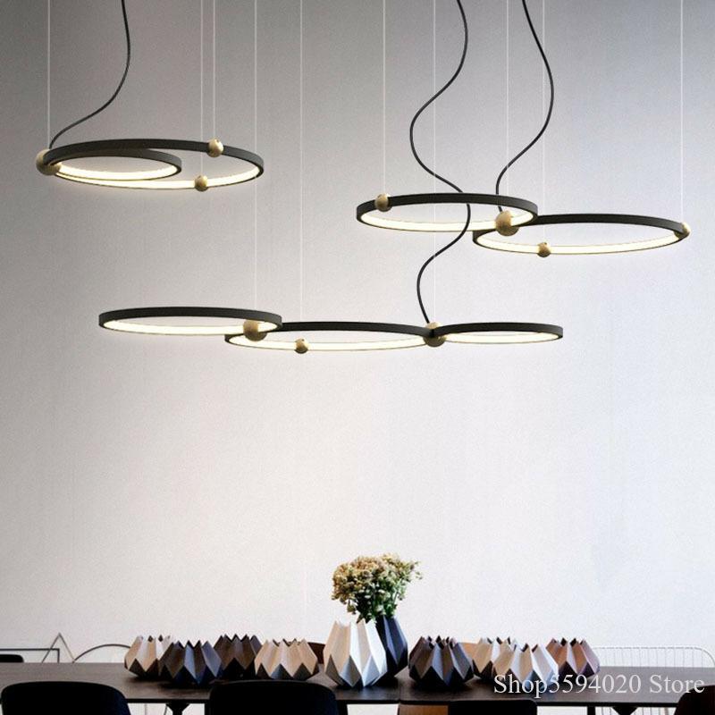 Post Modern Ring Led Chandelier American Light Luxury Creative Restaurant Pendant Lamp Dining Light Living Room Pendant Decor