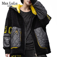 Fur Coat Oversized Hooded-Jacket Streetwear Printed Vintage Korean Luxury-Style Casual