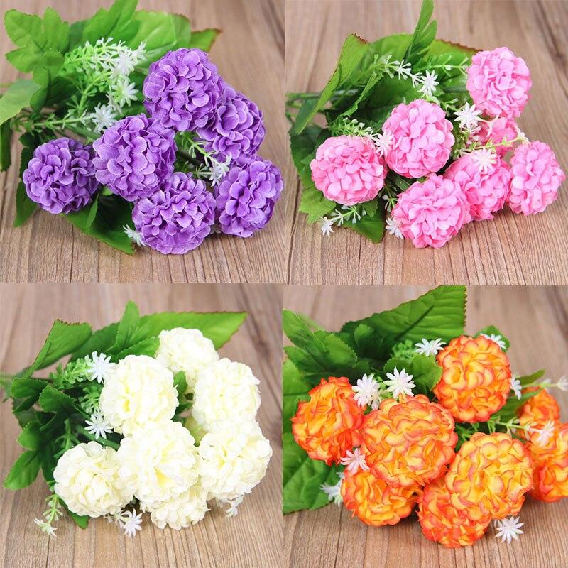 Новинка, для возраста от 9 Большой цветочного бутона гортензии искусственный хризантемы мяч искусственный цветок из шелка «сделай сам» для ...