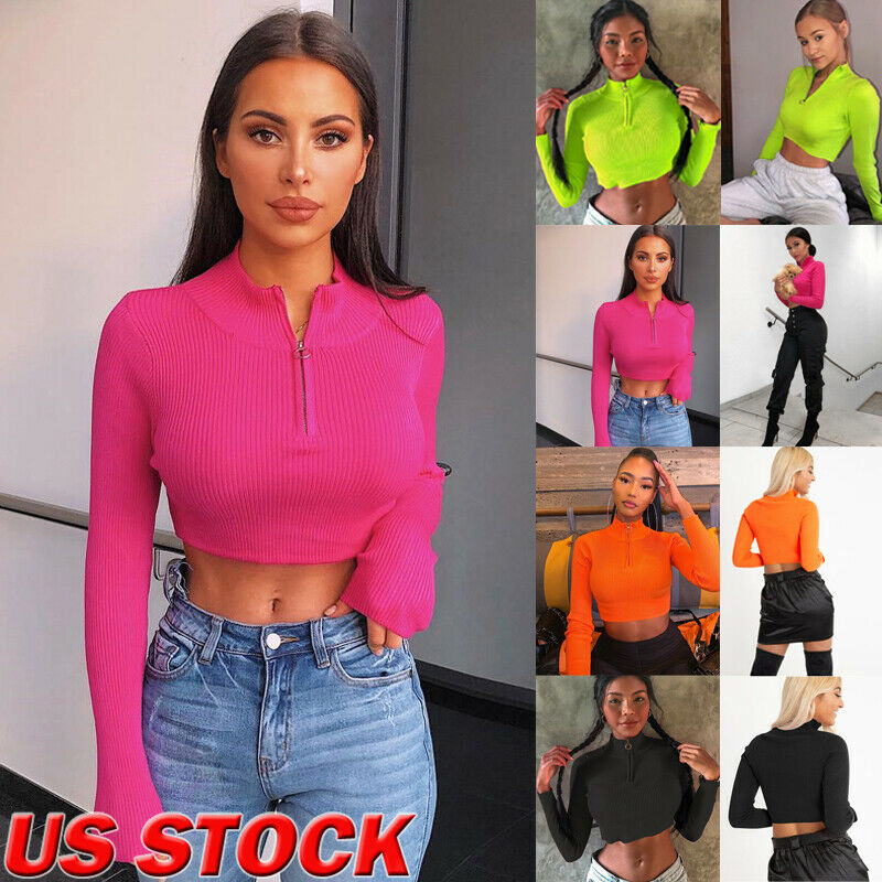 Retro Women's Zipper Sweater Short Cropped Navel Long Sleeve Pullover Top Solid Color Sexy Slim Crop Top Autumn Winter Warm Coat