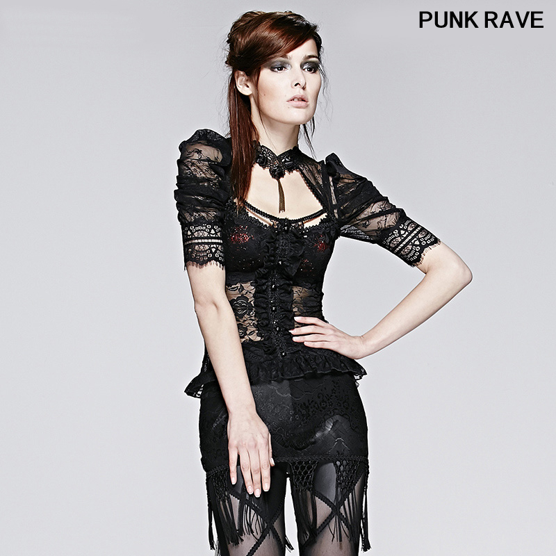Classic black Sexy slim Women's Lace Short Shirt Tops Gothic Semitransparent Sheer Halterneck Puff Sleeve Tops PUNK RAVE T-395 image