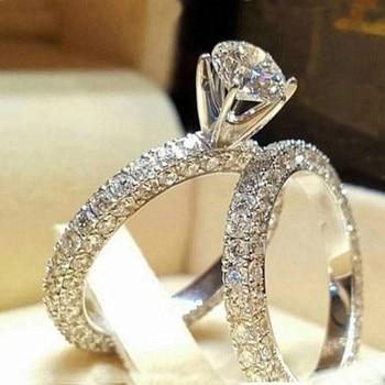 Moda 2 unid/set elegante Anillos de circón cúbico Conjunto para las mujeres, Anillos de plata de Color de la boda anillo de bisutería Bague Mujer fiesta