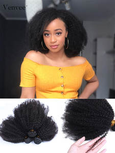Curly Hair Extension Bundles Weave Raw Afro Kinky Mongolian 3-Hair-Products Remy Black