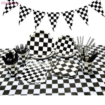 חד פעמי וקישוטים ליום הולדת מירוץ מכוניות, פרה, פנדה ושחמט