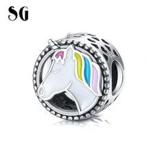 SG New 925 Sterling Silver Cute Horse round Shape Charm Colorful Enamel Beads Fit pandora Bracelet Women 2019 Fashion Jewelry