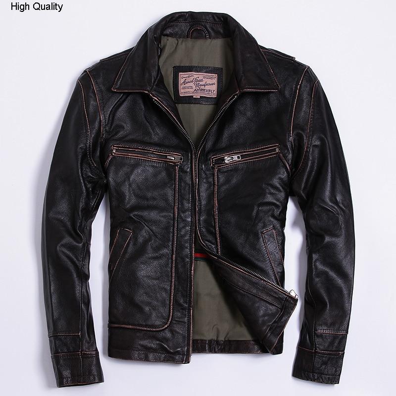 FLY Genuine Leather Jacket Men Brown Leisure Cowhide Jacket Lapel Slim Fit Coat Winter Leisure Clothing Male