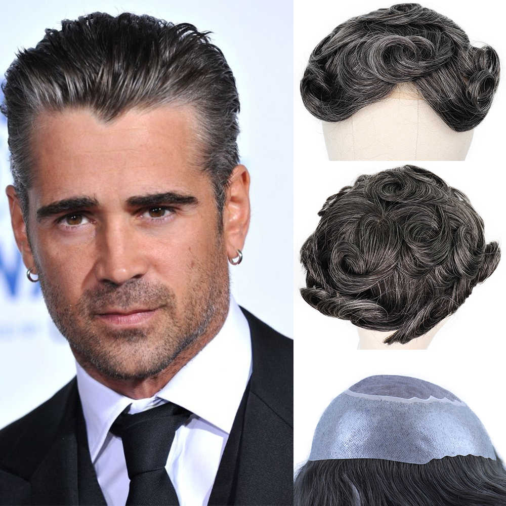 YY Wigs 1B Natural Black Mixed Grey Human Hair Toupee Men Mono Net & PU Remy Hair Replacement System Men's Toupee 6 Inch 8x10