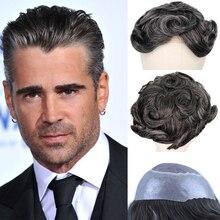 YY Wigs 1B Natural Black Mixed Grey Human Hair Toupee Men Mono Net & PU Remy Hair Replacement System Mens Toupee 6 Inch 8x10